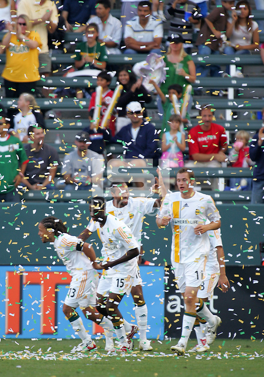 LA Galaxy players celebrate Captain and FWD Cobi Jones (13) goal during a MLS match. The LA Galaxy beat Real Salt Lake 3-2 at the Home Depot Center in Carson, California, Sunday, June 17, 2007.