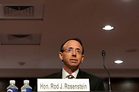 """Former United States Deputy Attorney General Rod Rosenstein is seen during a US Senate Judiciary Committee hearing to discuss the FBI's """"Crossfire Hurricane"""" investigation on Wednesday, June 3, 2020.<br /> Credit: Greg Nash / Pool via CNP/AdMedia"""