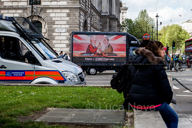 Parliament Square.<br /> <br /> &quot;Stickers, Posters, Banners, Russell Brand, Occupy Statues, Class War&hellip; An Invisible Electoral Campaign&quot;.<br /> <br /> For more pictures and info about this event please click here: http://bit.ly/1H71ECg