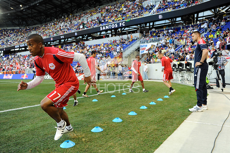 Jeremy Hall (17) of the New York Red Bulls warms up prior to a friendly between Santos FC and the New York Red Bulls at Red Bull Arena in Harrison, NJ, on March 20, 2010. The Red Bulls defeated Santos FC 3-1.