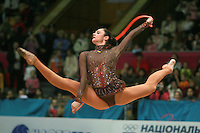 "Anna Bessonova of Ukraine split leaps with rope during senior All-Around at 2007 World Cup Kiev, ""Deriugina Cup"" in Kiev, Ukraine on March 16, 2007. Anna won the seniors All-Around."