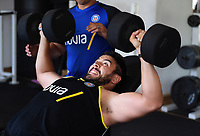 Lucas Noguera Paz of Bath Rugby in the gym. Bath Rugby pre-season training on July 2, 2018 at Farleigh House in Bath, England. Photo by: Patrick Khachfe / Onside Images