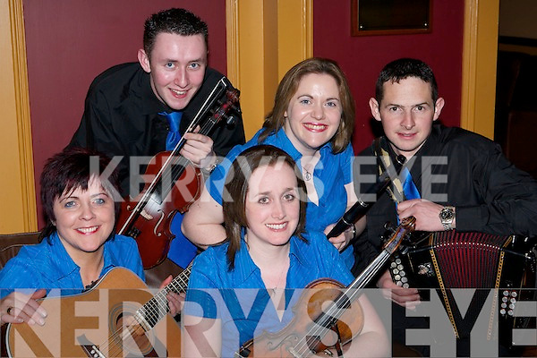 The Glenflesk Music Group who competed in the Scor na Mumhan Finals in the INEC, Gleneagle Hotel, Killarney on Saturday evening - Mary OCallaghan, Padraig Creedon, Martina Angland, Rose Healy and Micheal McGillycuddy. .