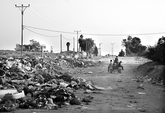 2010 August 23 - Beit Hanoun - Gaza<br /> Scrap collectors returning home on donkey cart after collecting stones of destroyed buildings in the bufferzone, the by Israel imposed no-go zone alone the border Gaza-Israel.