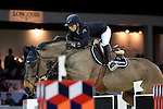 Jane Richard Philips on Dieudonne de Guldenboom competes during the Airbus Trophy at the Longines Masters of Hong Kong on 20 February 2016 at the Asia World Expo in Hong Kong, China. Photo by Victor Fraile / Power Sport Images