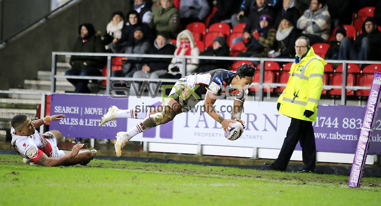 PICTURE BY CHRIS MANGNALL /SWPIX.COM...<br /> Rugby League - Super League - St Helens Saints v Castleford Tigers   - Langtree Park Stadium, , England  - 04/03/16<br /> St Helens Jordan Turner   Castleford's Denny Solomona Dives for the Try Line  Try Not given