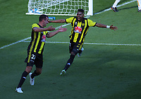 Steven Taylor and Roy Krishna celebrate going 1-0 up during the A-League football match between Wellington Phoenix and Newcastle Jets at Westpac Stadium in Wellington, New Zealand on Sunday, 21 october 2018. Photo: Dave Lintott / lintottphoto.co.nz