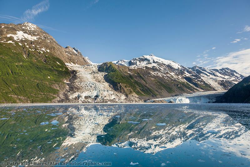 Cascade and Barry Glacier, Chugach mountains, Chugach National forest, Prince William Sound, southcentral, Alaska.