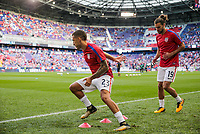 Harrison, N.J. - Friday September 01, 2017: Fabian Johnson, Graham Zusi during a 2017 FIFA World Cup Qualifying (WCQ) round match between the men's national teams of the United States (USA) and Costa Rica (CRC) at Red Bull Arena.