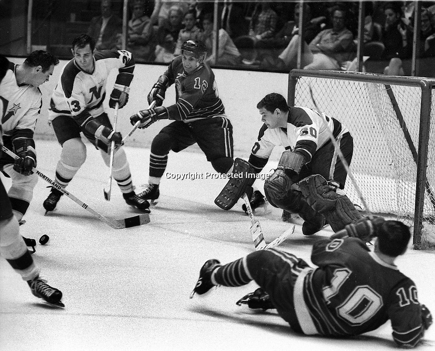 Seals vs Northstars, goalie Carl Wetzel, #3Jean-Guy <br />