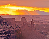 Sunrise seen from Island in the Sky      Canyonlands National Park, Utah     La Sal Mountains   Buttes and spires of Canyonlands