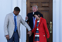 United States President-elect Donald Trump (C) greets Mayor of Sacramento, CA, Kevin Johnson (L) and former chancellor of Washington DC public schools Michelle Rhee (R), at the clubhouse of Trump International Golf Club, November 19, 2016 in Bedminster Township, New Jersey. <br /> Credit: Aude Guerrucci / Pool via CNP /MediaPunch