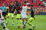 09.09.2017, WWK-Arena, Augsburg, GER, 1.FBL, FC Augsburg vs 1.FC Koeln, im Bild<br /> <br /> v-l-n-r  Jhon CORDOBA (1.FC Koeln #15), Rani KHEDIRA (FC Augsburg #8), Leonardo BITTENCOURT (1.FC Koeln #21)<br /> <br /> Foto &copy; nordphoto / Schreyer