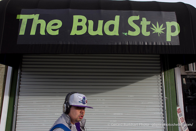 The Emerald Facade, medical marijuana shops.  Bud Stop  Victory Blvd, North Hollywood, Los Angeles, Calif. Wednesday, November 14, 2012. Marijuana Dispensaries in Los Angeles