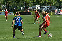 Kansas City, MO - Saturday May 13, 2017: Lo'eau Labonta and Lindsey Horan during a regular season National Women's Soccer League (NWSL) match between FC Kansas City and the Portland Thorns FC at Children's Mercy Victory Field.