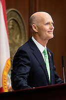 TALLAHASSEE, FLA. 3/4/14-Gov. Rick Scott during his State of the State address on the opening day of the legislative session, March 4, 2014 at the Capitol in Tallahassee.<br /> <br /> COLIN HACKLEY PHOTO