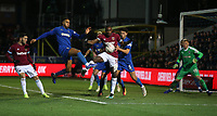 West Ham United's Michail Antonio attempts to get to the ball before AFC Wimbledon's Will Nightingale and Terell Thomas<br /> <br /> Photographer Rob Newell/CameraSport<br /> <br /> Emirates FA Cup Fourth Round - AFC Wimbledon v West Ham United - Saturday 26th January 2019 - Kingsmeadow Stadium - London<br />  <br /> World Copyright © 2019 CameraSport. All rights reserved. 43 Linden Ave. Countesthorpe. Leicester. England. LE8 5PG - Tel: +44 (0) 116 277 4147 - admin@camerasport.com - www.camerasport.com