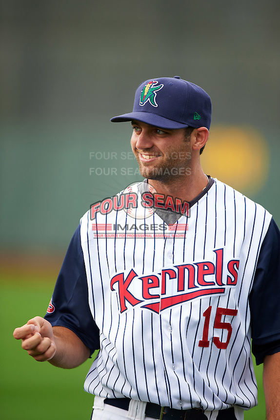 Cedar Rapids Kernels pitcher Randy LeBlanc (15) before a game against the Kane County Cougars on August 18, 2015 at Perfect Game Field in Cedar Rapids, Iowa.  Kane County defeated Cedar Rapids 1-0.  (Mike Janes/Four Seam Images)