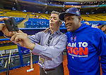 1 April 2016: Toronto Blue Jays baserunning and outfield coach Tim Raines, and former Montreal Expo, looks at some cellphone images with Montreal broadcaster Elliott Price prior to a pre-season exhibition game between the Blue Jays and the Boston Red Sox at Olympic Stadium in Montreal, Quebec, Canada. The Red Sox defeated the Blue Jays 4-2 in the first of two MLB weekend exhibition games, which saw an attendance of 52,682 at the former home on the Montreal Expos. Mandatory Credit: Ed Wolfstein Photo *** RAW (NEF) Image File Available ***