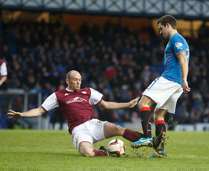 Kevin Nicoll challenges Andy little in the box