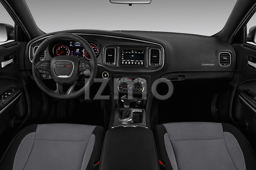 Stock photo of straight dashboard view of a 2018 Dodge Charger SXT 4 Door Sedan