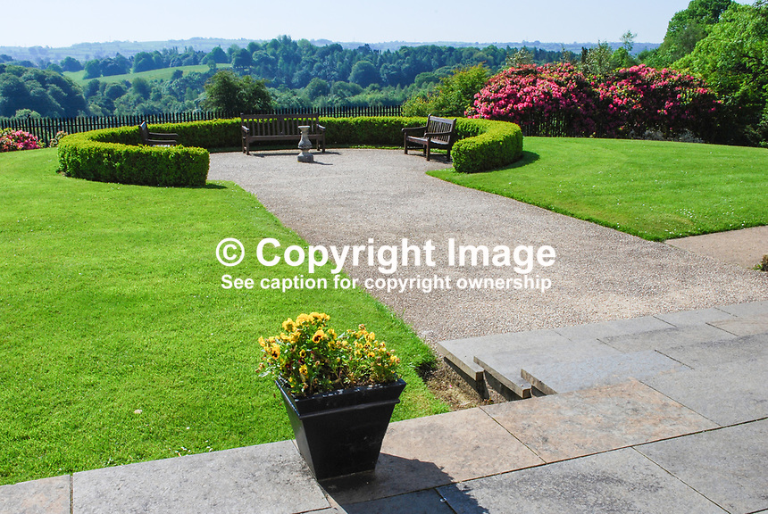 Ornamental garden in front of Malone House, Barnett's Demesne, Malone, Belfast,  N Ireland, UK, parkland, shadows, sunshine, foliage, trees, 200905312537, springtime, early summer, may 2009.<br />
