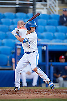 Dunedin Blue Jays shortstop Logan Warmoth (2) at bat during a game against the Fort Myers Miracle on April 17, 2018 at Dunedin Stadium in Dunedin, Florida.  Dunedin defeated Fort Myers 5-2.  (Mike Janes/Four Seam Images)
