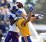 BROOKINGS, SD - OCTOBER 24:  Jake Wieneke #19 from South Dakota State has the pass attempt broken up by Makinton Dorleant #2 from University of Northern Iowa in the second quarter of their game Saturday afternoon at Coughlin Alumni Stadium in Brookings. (Photo by Dave Eggen/Inertia)