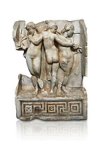 Roman Sebasteion relief  sculpture of the Three Graces, Aphrodisias Museum, Aphrodisias, Turkey.     Against a white background.<br /> <br /> The Three Graces stand in their familiar hellenistic composition. They were handmaids of Aphrodite and appeared in this form on the decoration of her cult statue at Aphrodisias. Their names evoked their character: Euphrosyne (joy), Aglaia (Splendour) and Thaleia (Bloom).
