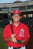 Jahmai Jones (22) of the AZL Angels poses for a photo before a game against the AZL Giants at Tempe Diablo Stadium on July 6, 2015 in Tempe, Arizona. Angels defeated Giants, 3-1. (Larry Goren/Four Seam Images)