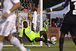 29 May 2012: Carolina's Ray Burse makes a second half save. The Carolina RailHawks (NASL) defeated the Los Angeles Galaxy (MLS) 2-1 at WakeMed Soccer Stadium in Cary, NC in a 2012 Lamar Hunt U.S. Open Cup third round game.