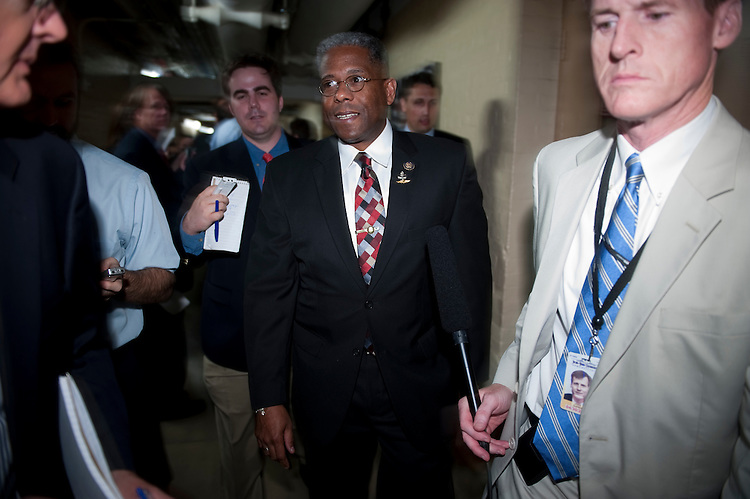UNITED STATES - AUGUST 1: Rep. Allen West, R-Fla., leaves the House Republicans' caucus meeting on the debt ceiling increase on Monday, Aug. 1, 2011, in the basement of the Capitol . (Photo By Bill Clark/Roll Call)