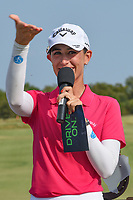 Cheyenne Knight (USA) talks to the crowd on the green on 18 after winning the 2019 Volunteers of America Texas Classic, the Old American Golf Club, The Colony, Texas, USA. 10/6/2019.<br /> Picture: Golffile | Ken Murray<br /> <br /> <br /> All photo usage must carry mandatory copyright credit (© Golffile | Ken Murray)