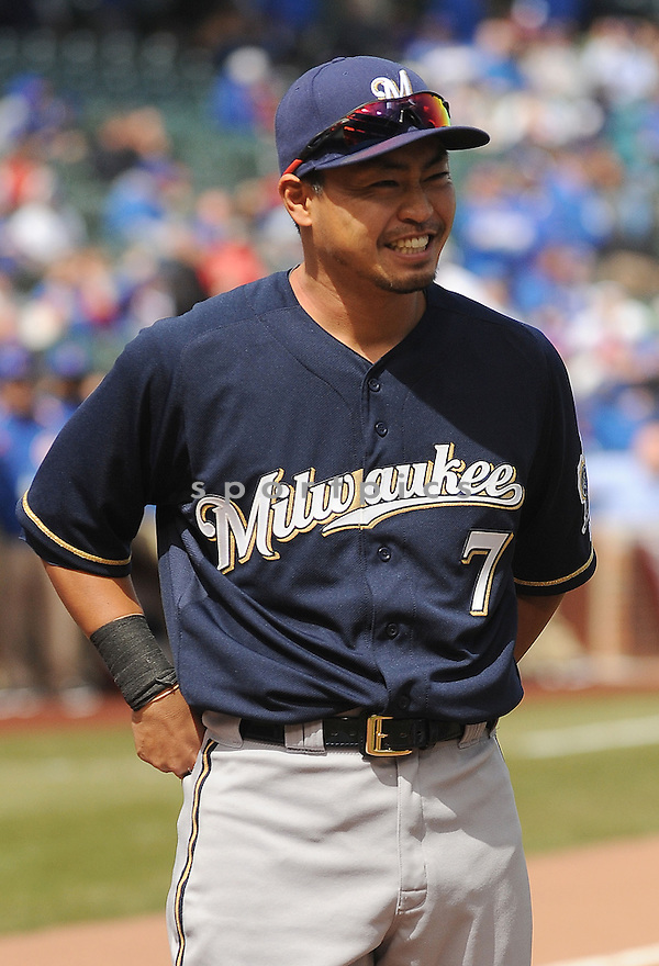 Milwaukee Brewers Norichika Aoki (7) during a game against the Chicago Cubs on April 8, 2013 at Wrigley Field in Chicago, IL. The Brewers beat the Cubs 7-4.