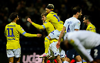 Leeds United's Patrick Bamford celebrates scoring his side's second goal with teammates<br /> <br /> Photographer Alex Dodd/CameraSport<br /> <br /> The EFL Sky Bet Championship - Preston North End v Leeds United -Tuesday 9th April 2019 - Deepdale Stadium - Preston<br /> <br /> World Copyright &copy; 2019 CameraSport. All rights reserved. 43 Linden Ave. Countesthorpe. Leicester. England. LE8 5PG - Tel: +44 (0) 116 277 4147 - admin@camerasport.com - www.camerasport.com
