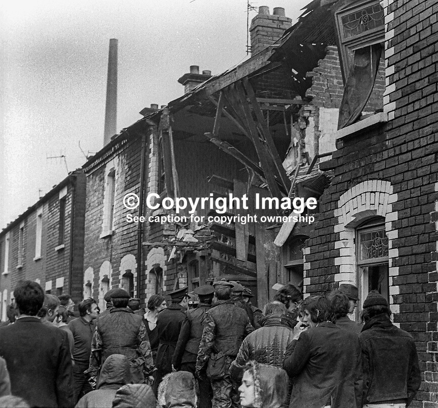 Scene following Provisonal IRA booby-trap explosion in terrace house in Sheriff Street, Belfast, N Ireland, 8th January 1972. Twenty-six were injured in the blast of which 8 were hospitalized. Among the injured were six soldiers for whom the booby-trap was intended. Soldiers had gone to the house following a phone call from a woman saying there were guns and ammunition hidden there. 197201080004b<br />