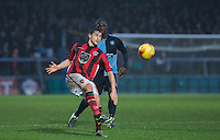 Goalscorer Shaun Miller of Morecambe clears the ball during the Sky Bet League 2 match between Wycombe Wanderers and Morecambe at Adams Park, High Wycombe, England on 2 January 2016. Photo by Andy Rowland / PRiME Media Images