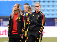 20180410 - FERRARA , ITALY : Belgian Maud Coutereels and Lenie Onzia (r) pictured during the female soccer game between Italy and the Belgian Red Flames , the fifth game in the qualificaton for the World Championship qualification round in group 6 for France 2019, Tuesday 10 th April 2018 at Stadio Paolo Mazza / Stadio Comunale in Ferrara , Italy . PHOTO SPORTPIX.BE | DAVID CATRY
