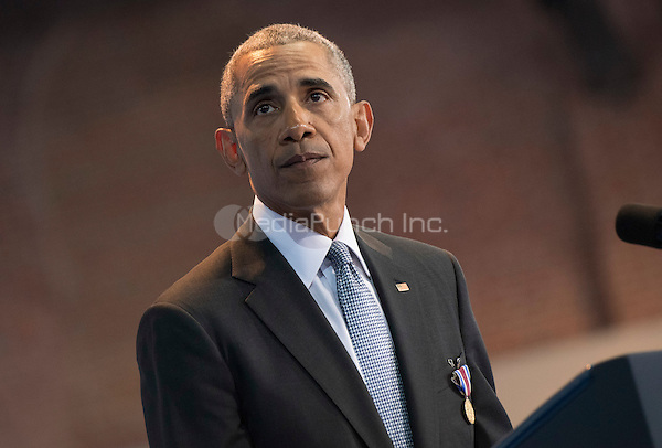 United States President Barack Obama speaks during his Armed Forces Full Honor Review Farewell Ceremony at Joint Base Myers-Henderson Hall, in Virginia on January 4, 2017. The five braces of the military honored the president and vice-president for their service as they conclude their final term in office.<br /> Credit: Kevin Dietsch / Pool via CNP /MediaPunch