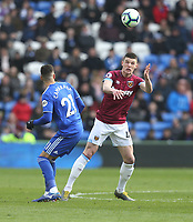 West Ham United's Declan Rice and Cardiff City's Victor Camarasa<br /> <br /> Photographer Rob Newell/CameraSport<br /> <br /> The Premier League - Cardiff City v West Ham United - Saturday 9th March 2019 - Cardiff City Stadium, Cardiff<br /> <br /> World Copyright © 2019 CameraSport. All rights reserved. 43 Linden Ave. Countesthorpe. Leicester. England. LE8 5PG - Tel: +44 (0) 116 277 4147 - admin@camerasport.com - www.camerasport.com