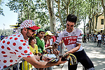 Jasper Stuyven (BEL) Trek-Segafredo with fans at the end of Stage 17 of the 2019 Tour de France running 200km from Pont du Gard to Gap, France. 24th July 2019.<br /> Picture: ASO/Pauline Ballet | Cyclefile<br /> All photos usage must carry mandatory copyright credit (© Cyclefile | ASO/Pauline Ballet)