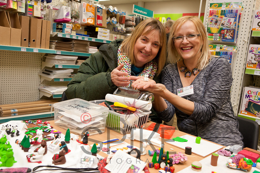 Sally Shuttleworth finds out how to model with polymer clay from demonstarator Gill Cosford