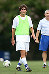 19 August 2014: Duke's Zach Mathers. The Duke University Blue Devils hosted the Radford University Highlanders at Koskinen Stadium in Durham, NC in a 2014 NCAA Division I Men's Soccer preseason match.