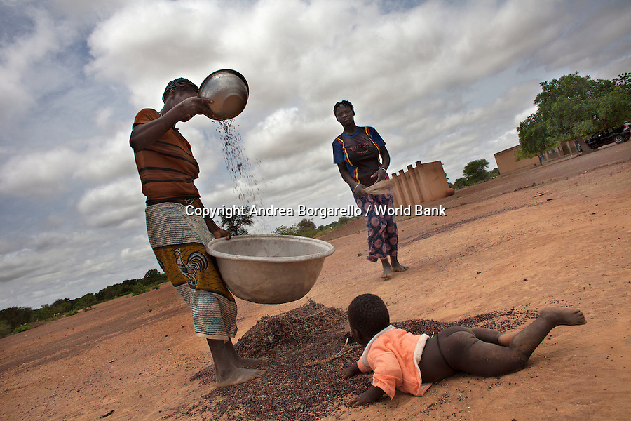 Burkina Faso, Plateau Central. Woman sieving cereal in the wind.