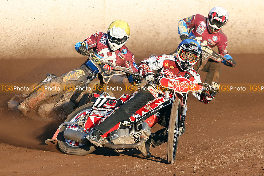 Heat 4: Buczkowski (blue), Robson (yellow) and Shields - Lakeside Hammers vs Peterborough Panthers - Sky Sports Elite League Speedway at the East of England Showground - 03/06/10 - MANDATORY CREDIT: Gavin Ellis/TGSPHOTO - Self billing applies where appropriate - Tel: 0845 094 6026