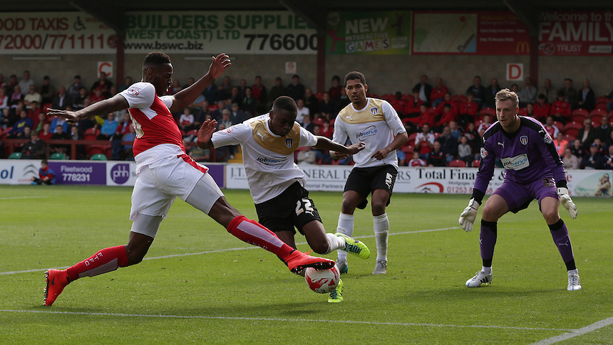 Fleetwood Town's Jamille Matt wins a corner off Colchester United's Kane Vincent-Young<br /> <br /> Photographer Stephen White/CameraSport<br /> <br /> Football - The Football League Sky Bet League One - Fleetwood Town v Colchester United - Saturday 22nd August 2015 - Highbury Stadium - Fleetwood<br /> <br /> &copy; CameraSport - 43 Linden Ave. Countesthorpe. Leicester. England. LE8 5PG - Tel: +44 (0) 116 277 4147 - admin@camerasport.com - www.camerasport.com