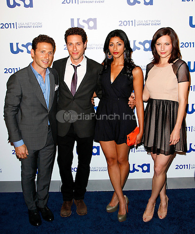 Mark Feuerstein, Paulo Costanzo, Reshma Shetty & Jill Flint pictured at the 2011 USA Network Upfront Event at the Lincoln Center, New York City, May 2, 2011 © Martin Roe / MediaPunch Inc.