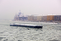 Ice on the frozen Danube and winter snow. Budapest winter photos