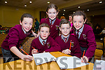 Sarah Mahony, Ewan Murphy, Aoibhinn ni h Aodha and Cian Brodrick Lauren Mahoney from Knockaclarig N.S.  at the Credit Union Primary schools  Table Quiz in Brandon Hotel on Sunday