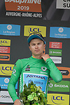 Alexey Lutsenko (KAZ) Astana Pro Team takes over the points Green Jersey at the end of Stage 2 of the Criterium du Dauphine 2019, running 180km from Mauriac to Craponne-sur-Arzon, France. 9th June 2019<br /> Picture: Colin Flockton | Cyclefile<br /> All photos usage must carry mandatory copyright credit (© Cyclefile | Colin Flockton)